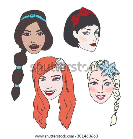 Beautiful women or princesses with Long Flowing Hair, Nice Makeup, and Accessories - stock vector