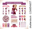 Beautiful Women's Infographic & Symbols - stock vector