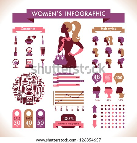 Beautiful Women's Infographic & Symbols - stock vector