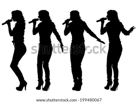 Beautiful women whit microphon on white background  - stock vector