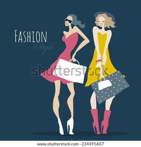 Beautiful Women with shopping bags. Fashion girls. Vector illustration - stock vector