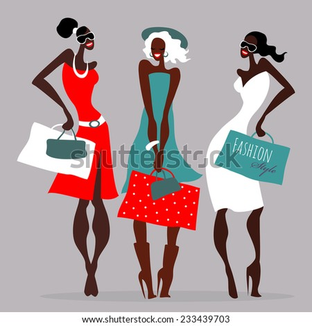 Beautiful Women with shopping bags. Vector illustration - stock vector