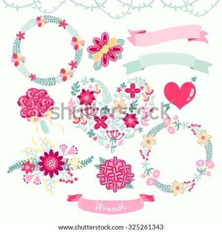 Beautiful Wreath Vector Design Illustration - stock vector