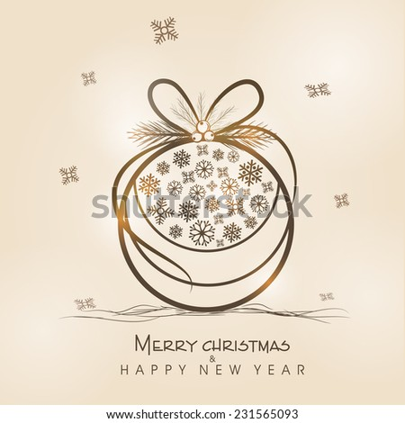 Beautiful X-mas ball decorated with snowflakes for Merry Christmas and Happy New Year celebrations. - stock vector