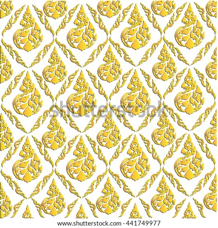 Beautiful Yellow gold Thai pattern seem floral, fern, leaves, lotus and fire pattern on white background for page and ground-paper - stock vector
