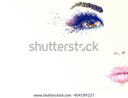 beautiful young face with glamour makeup - stock vector