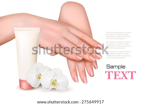 Beautiful young female hands with a cream and orchids. Vector. - stock vector