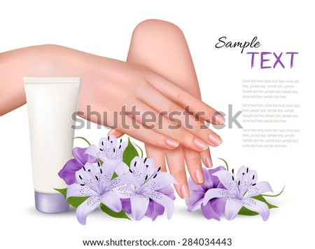 Beautiful young female hands with a cream and purple flowers. Vector. - stock vector