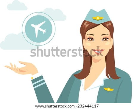 Beautiful young flight attendant with silhouette of airline in flat style - stock vector