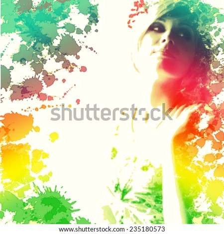 beautiful young girl, painted in watercolor - vector illustration, can be used for the cover of perfume, in beauty industry, hairdressing, as prints for clothes and for other kinds of design - stock vector
