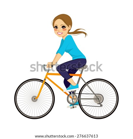 Beautiful young girl riding bicycle happy side profile view - stock vector