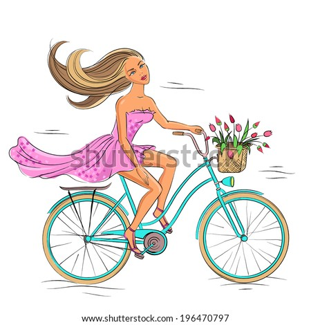 Beautiful young girl riding on the blue bike isolated on the white background - stock vector