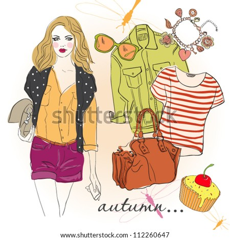 beautiful young girl . vector illustration - stock vector
