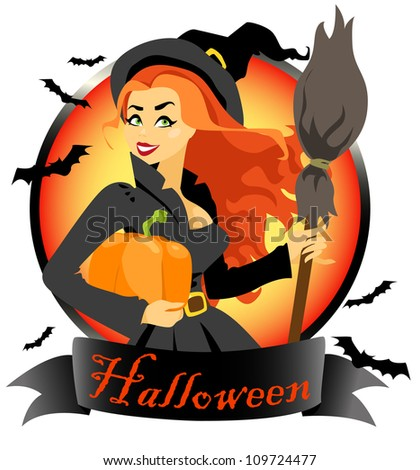Beautiful young red hair witch with pumpkin and broom, Halloween logo design (text is removable) - stock vector