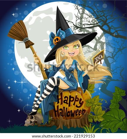 Beautiful young witch with a book and broom sitting on a blue Halloween background - stock vector