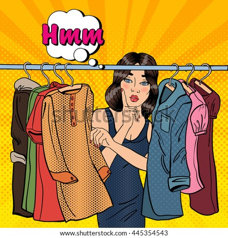 Beautiful Young Woman Choosing Clothes in her Wardrobe. Pop Art. Vector illustration - stock vector