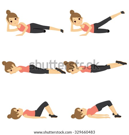 Beautiful young woman exercising doing glute routine fitness steps - stock vector