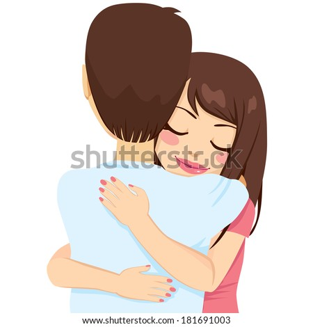 Beautiful young woman hugging man with tender love and passion - stock vector