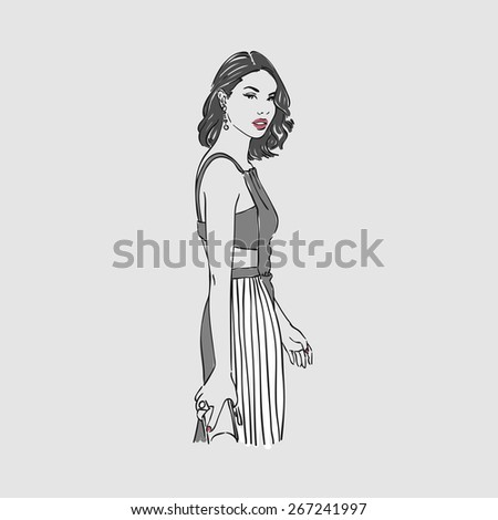Beautiful young woman in a fashion evening gray dress with bag. Vector illustration - stock vector