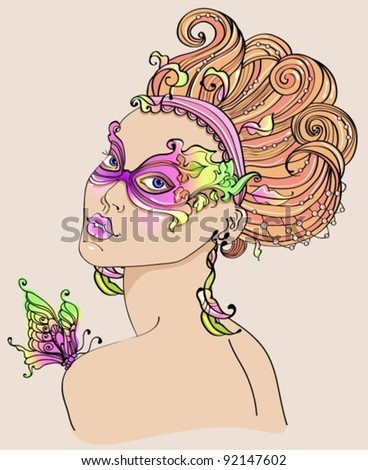 Beautiful young woman in carnival mask, bright illustration - stock vector