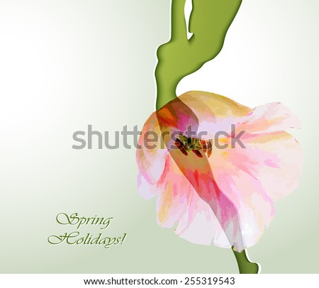 Beautiful young woman silhouette with flower - stock vector