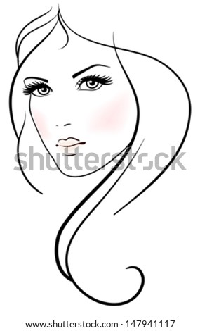 Beautiful young woman with long blond hair  - stock vector