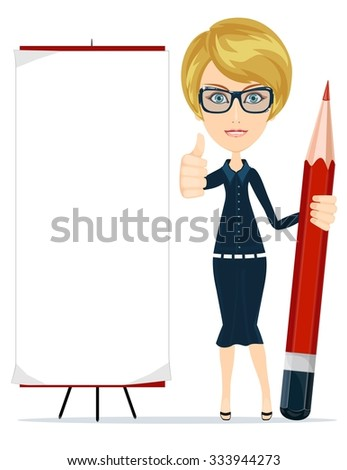 Beautiful young woman writing on copy space with pencil. Isolated on white. - stock vector