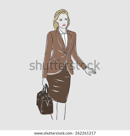 Beautiful young women in business suit. Vector illustration - stock vector