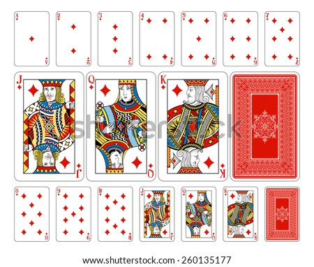 Beautifully crafted new original playing card deck design.  Bridge size Diamond playing cards plus playing card back - stock vector