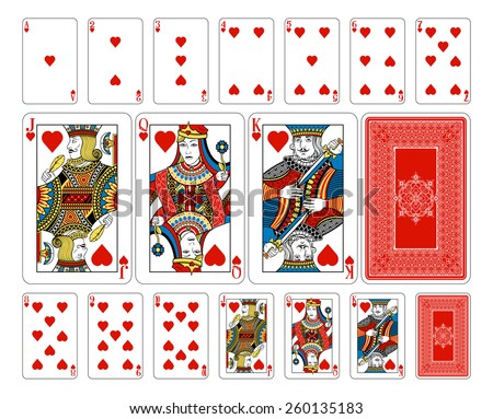 Beautifully crafted new original playing card deck design.  Bridge size heart playing cards plus playing card back - stock vector