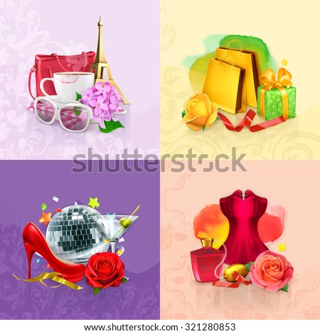 Beauty and cosmetics set of concepts, vector backgrounds - stock vector