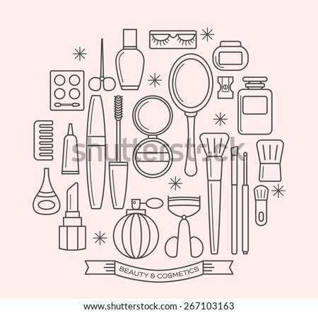 beauty and cosmetics thin line outline vector icons set - stock vector