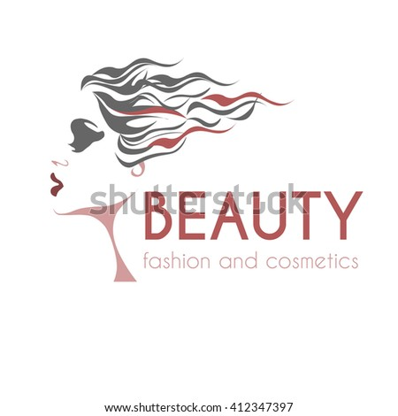 beauty and fashion logo, young woman gray, pink and white image, calm lovely girls face, attractive lady with fluttered hair - stock vector