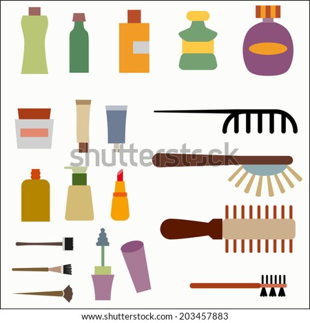Beauty and spa salon icons set. Facial, body and hair care illustration. Hairdressing. Haircut equipment, vector illustration, isolated on white - stock vector
