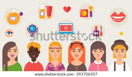 Beauty bloggers community vector illustration - stock vector