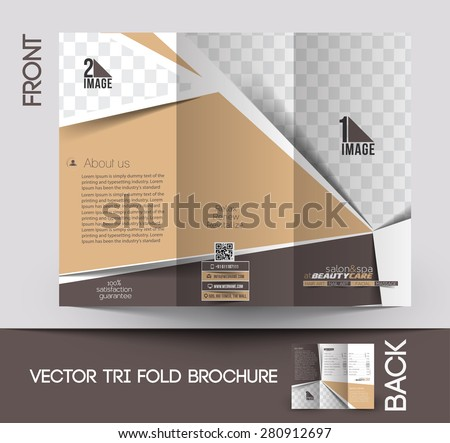 Beauty Care & Salon Front Tri-Fold Mock up & Brochure Design - stock vector