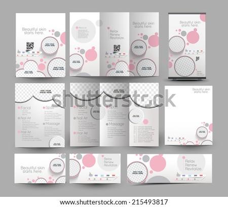 Beauty Care & Salon Stationery Set Template - stock vector