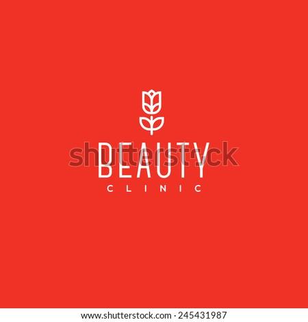 Beauty clinic logo design vector template. Red tulip icon - stock vector