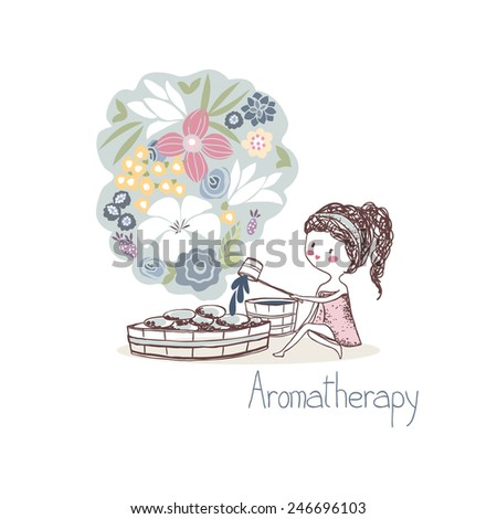 beauty concept, aromatherapy - stock vector