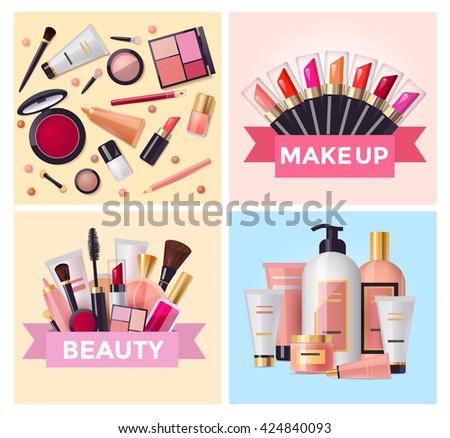 Beauty cosmetics and makeup set, flat design illustration , vector template - stock vector