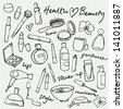 Beauty & cosmetics icons vector doodles - stock vector