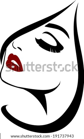 Beauty face icon with long lashes closeup - stock vector