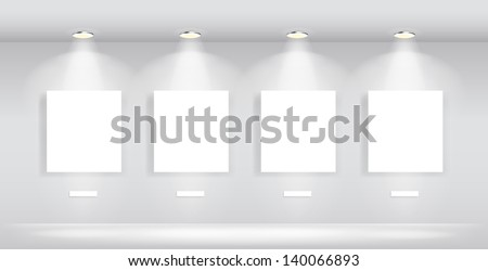 Beauty Gallery Interior with empty frames - stock vector
