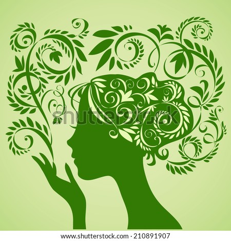 Beauty girl silhouette and floral pattern. Vector illustration. - stock vector
