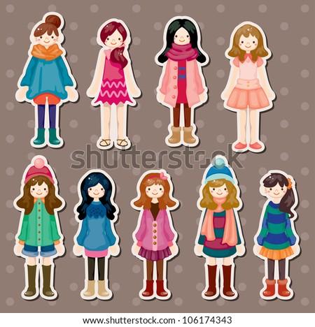 beauty girl stickers - stock vector