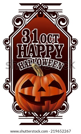 beauty happy halloween banner with pumpkin - stock vector