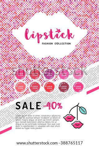 Beauty makeup, lipstick discount on A4 flyer. The concept of the printing template, directory covers, brochures or web banner on the theme of beauty, cosmetics makeup. Vector illustration - stock vector