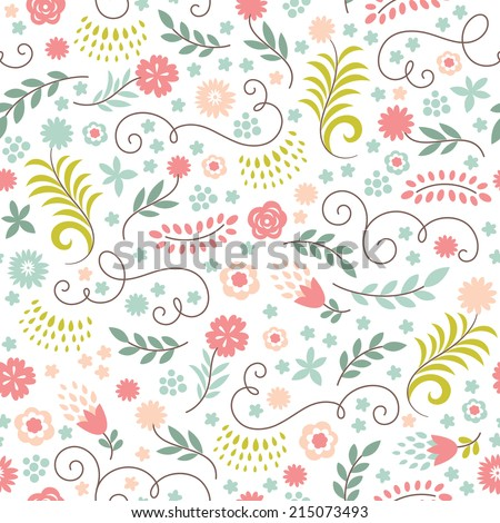 beauty seamless floral pattern - stock vector