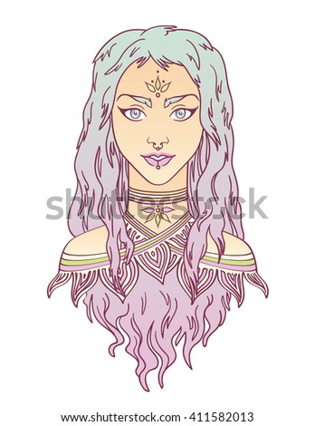 Beauty. Stylish beautiful girl with curly gradient hair. Beautiful tribal girl colorful portrait in hand draw style. Vector illustration of young girl with curly gradient hair. Tribal fashion girl.  - stock vector