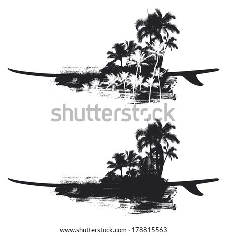 beauty summer coast with surfboard - stock vector